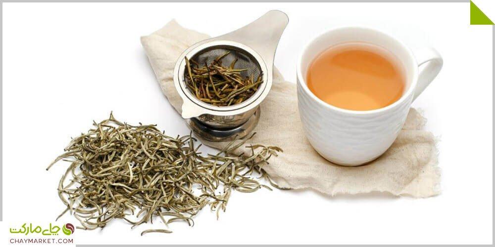 """چای سفید سوزنی نقره ای   سه بار دم <div class=""""dscpn"""">بالاترین آنتی اکسیدان، زیبایی و جوانسازی پوست، تقویت ایمنی، آرامبخش، دمنوش و سردنوش</div>"""