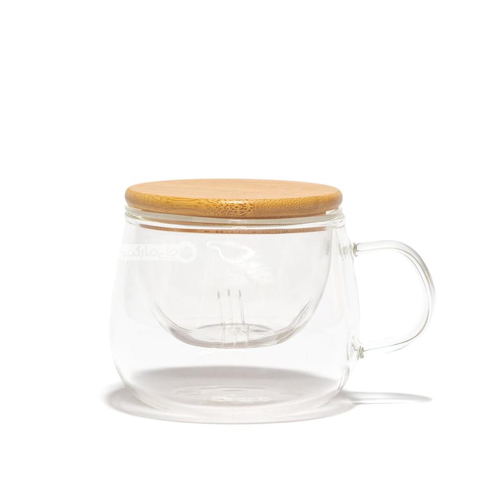 لیوان دمنوش فیلتر دار با درب بامبو