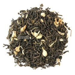 """چای سبز خارجی برگ قلم به همراه گل یاس <div class=""""dscpn"""">ضد استرس، جوان کننده، آرامبخش قوی، کنترل فشار و قند خون، مناسب پذیرایی</div>"""