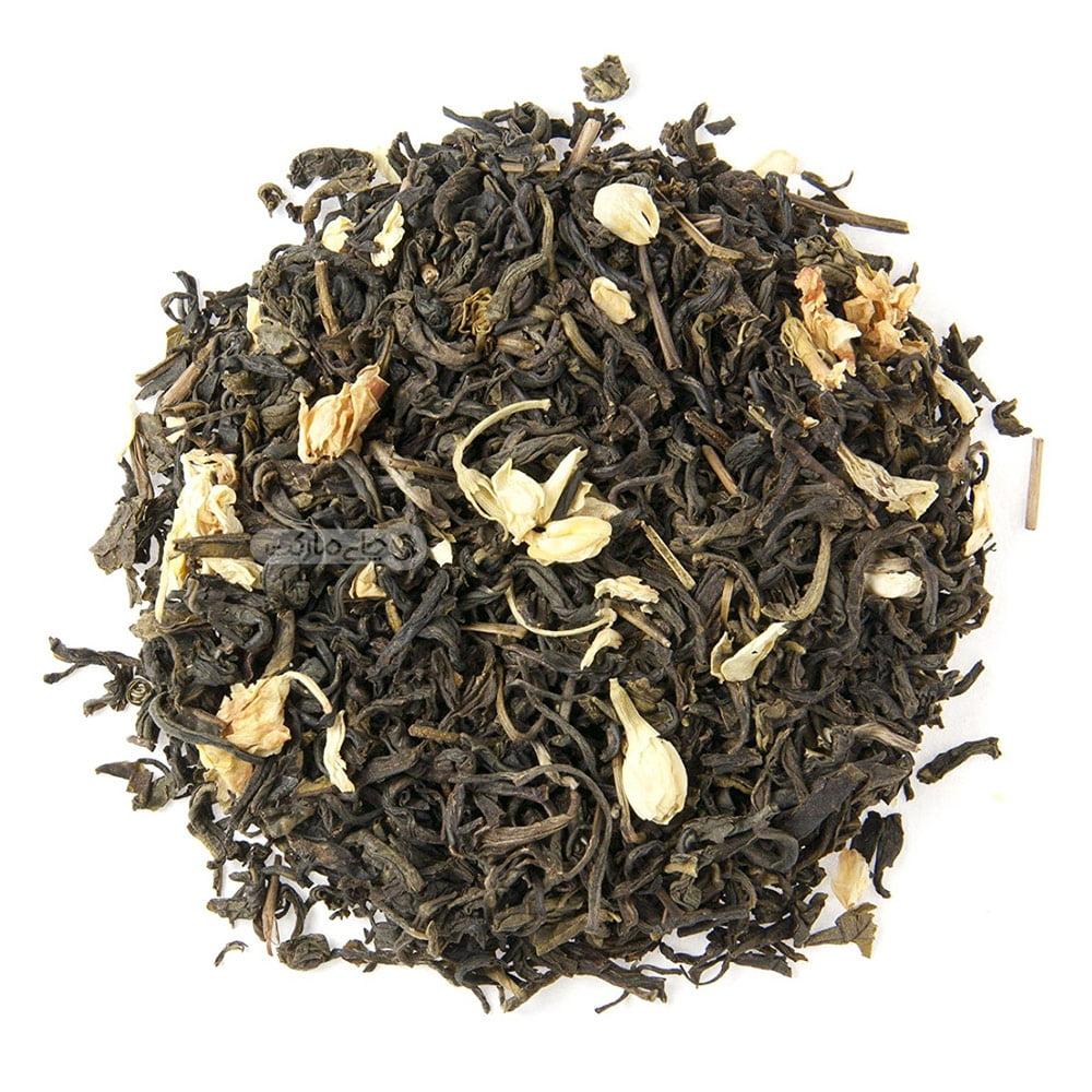 """چای سبز خارجی به همراه گل یاس <div class=""""dscpn"""">ضد استرس، جوان کننده، آرامبخش قوی، کنترل فشار و قند خون، مناسب پذیرایی</div>"""